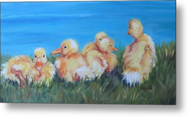 Five Ducklings Metal Print