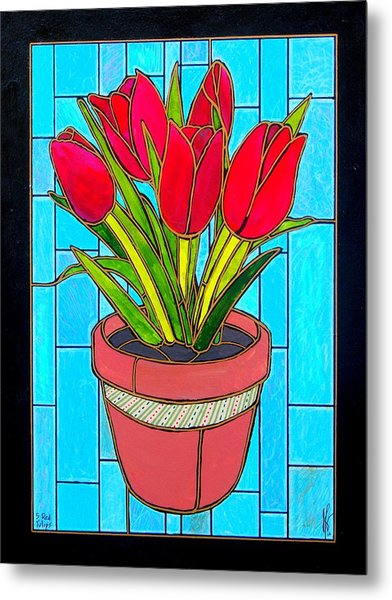 Five Red Tulips Metal Print