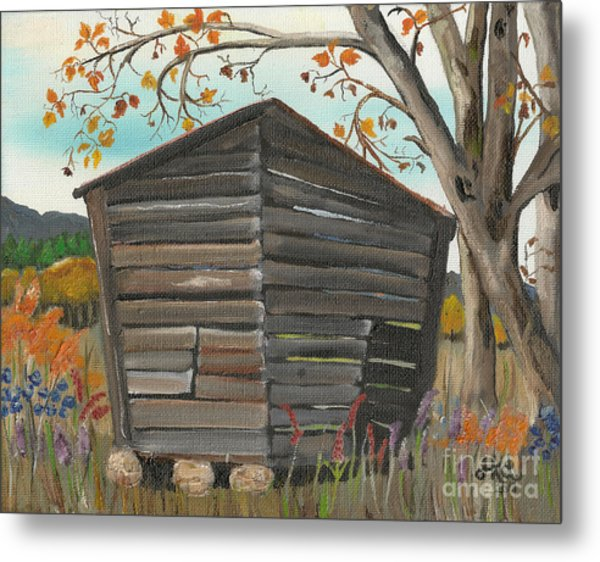 Autumn - Shack - Woodshed Metal Print