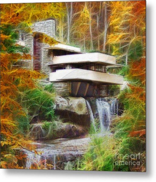 Fixer Upper - Square Version - Frank Lloyd Wright's Fallingwater Metal Print