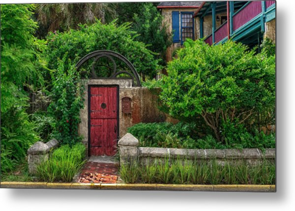The Red Garden Gate Metal Print