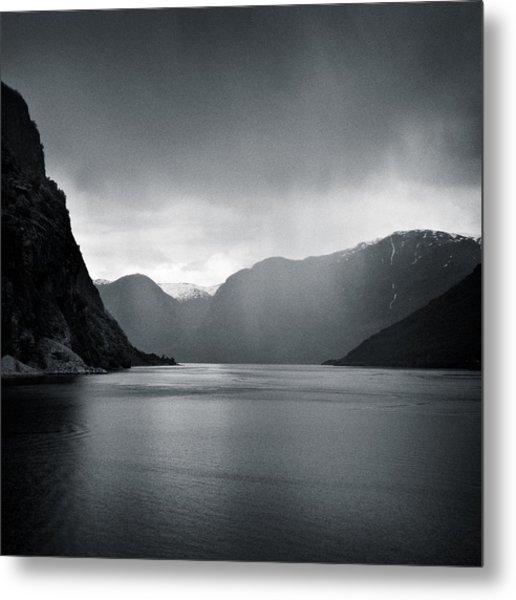 Fjord Rain Metal Print