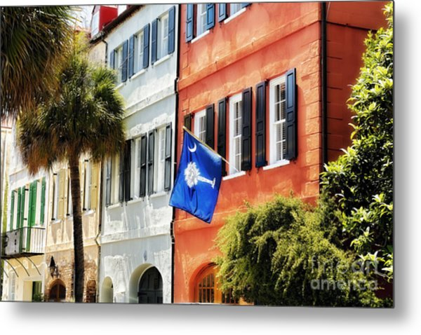 Flag Of Charleston With Palmetto And Crescent Moon Metal Print by George Oze