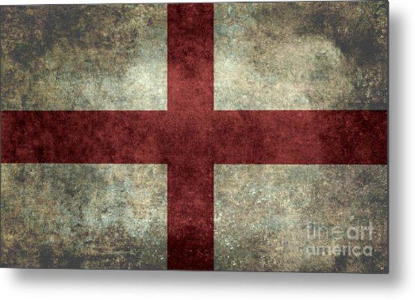Flag Of England St Georges Cross Vintage Version To Scale Metal Print