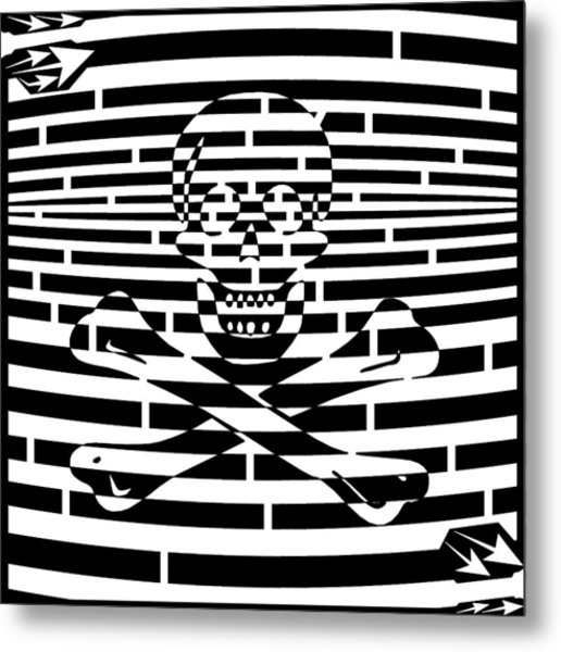 Flag Of Jolly Roger Maze Metal Print by Yonatan Frimer Maze Artist