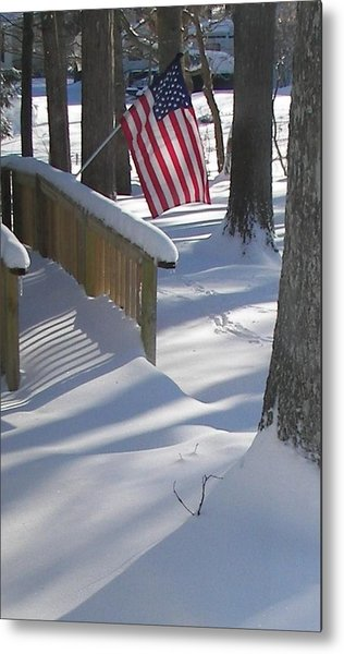 Flag Over Morning Snow Metal Print