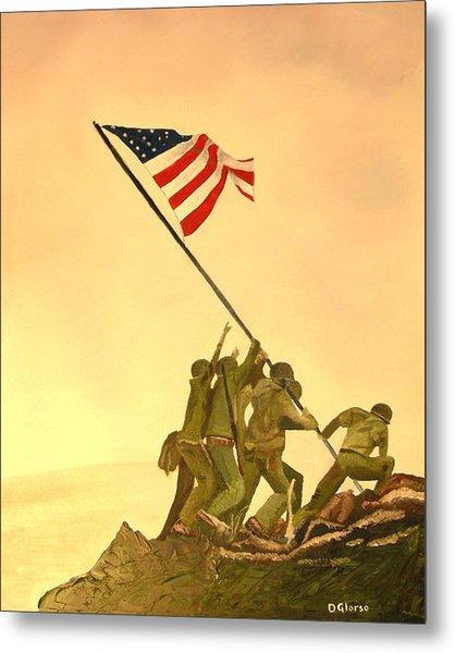 Flag Raising At Iwo Jima Metal Print