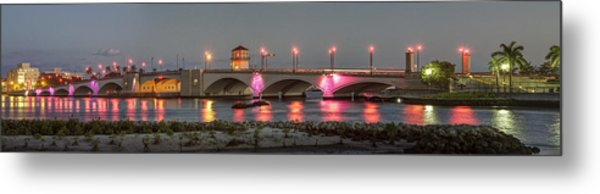 Flagler Bridge In Pink Metal Print