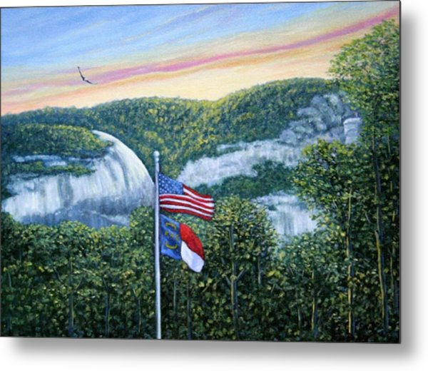 Flags At Sunset Metal Print
