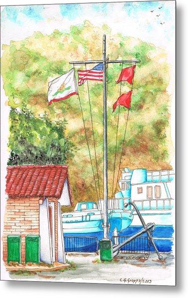 Flags In San Luis Port,  Avila Beach, California Metal Print
