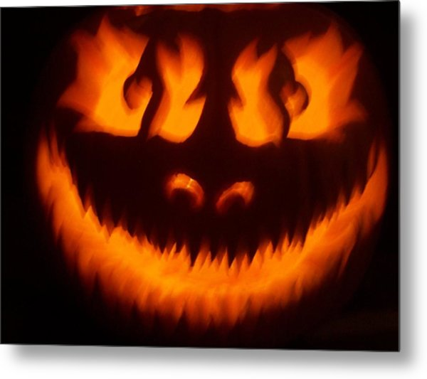 Flame Pumpkin Metal Print