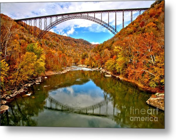 Flaming Fall Foliage At New River Gorge Metal Print