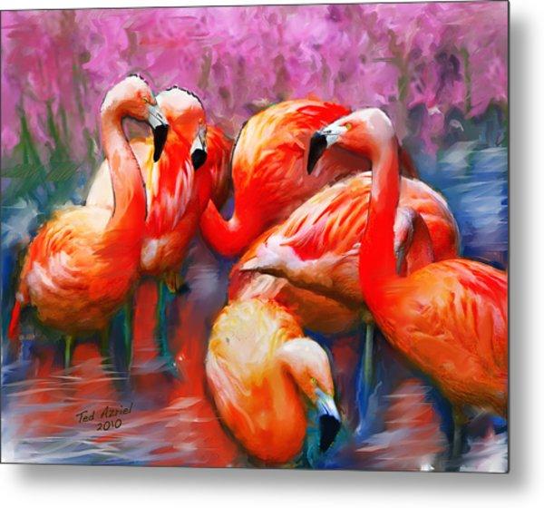 Flaming Flamingos Metal Print