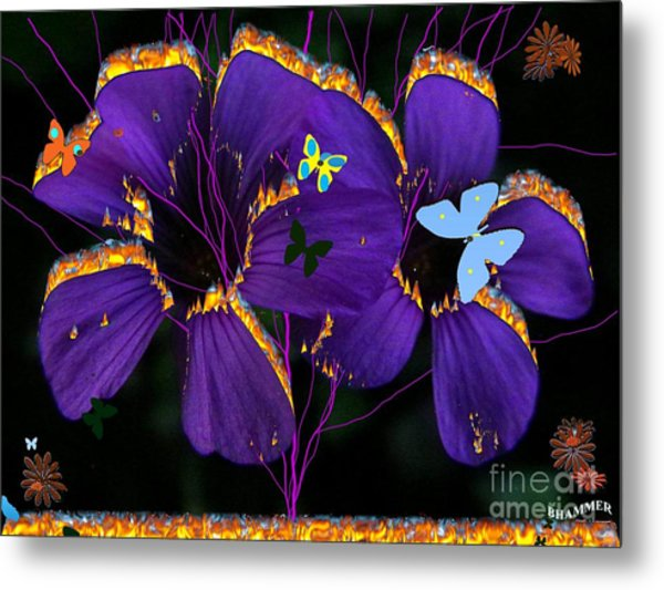 Flaming Flowers Metal Print by Bobby Hammerstone