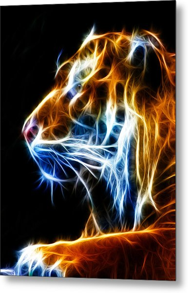 Flaming Tiger Metal Print