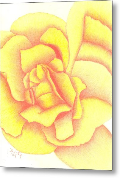 Flaming Yellow Rose Metal Print by Dusty Reed