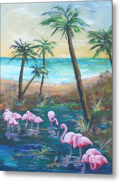 Flamingo Beach Metal Print