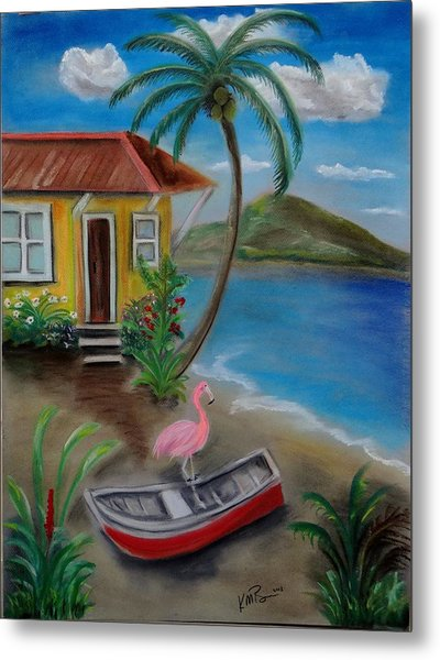Metal Print featuring the painting Flamingo Beach by Kevin  Brown