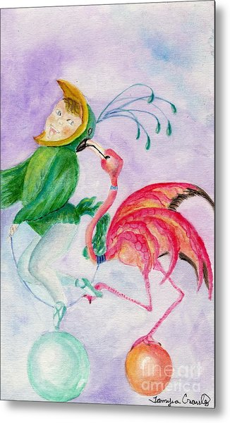 Flamingo Circus Metal Print