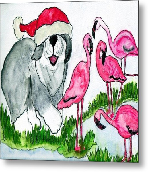 Flamingo Herder Metal Print