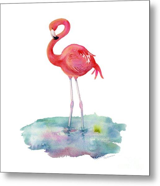 Flamingo Pose Metal Print