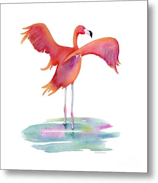 Flamingo Wings Metal Print