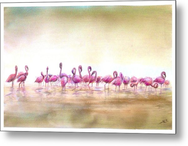Flamingoes Land Metal Print