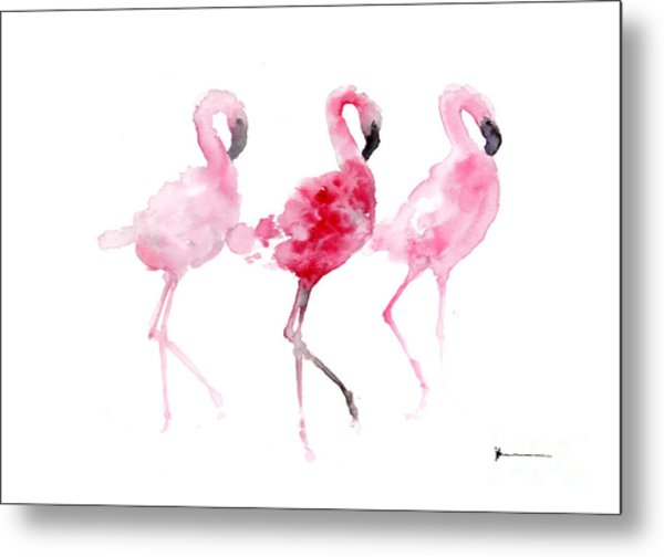 Flamingos Painting Watercolor Art Print Metal Print