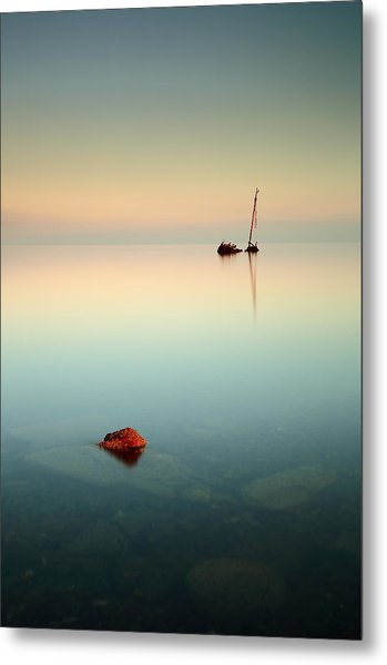 Flat Calm Shipwreck Sunrise Metal Print