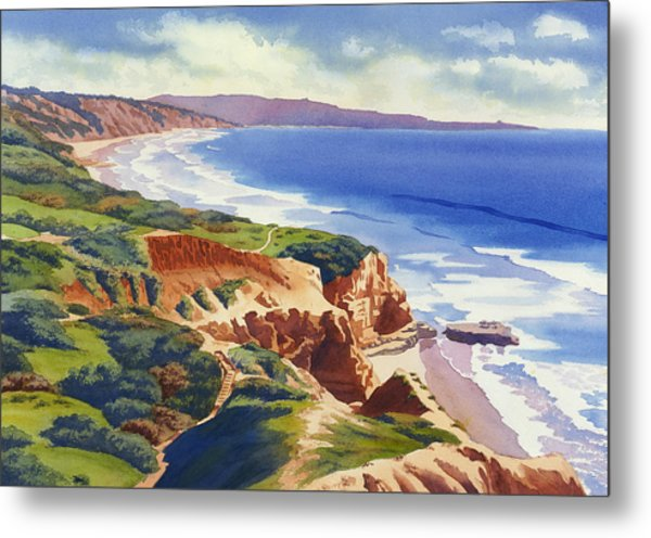 Flat Rock And Bluffs At Torrey Pines Metal Print