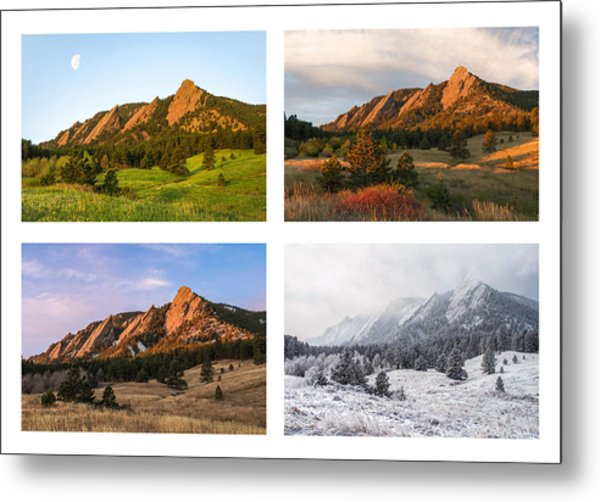 Flatirons Four Seasons With Border Metal Print