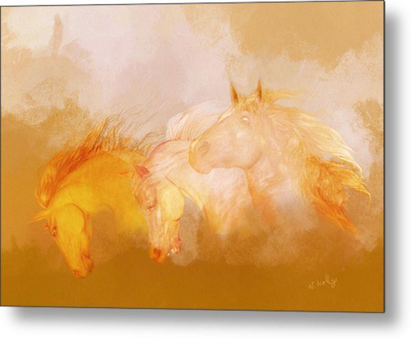 Metal Print featuring the painting Flaxen Manes by Valerie Anne Kelly