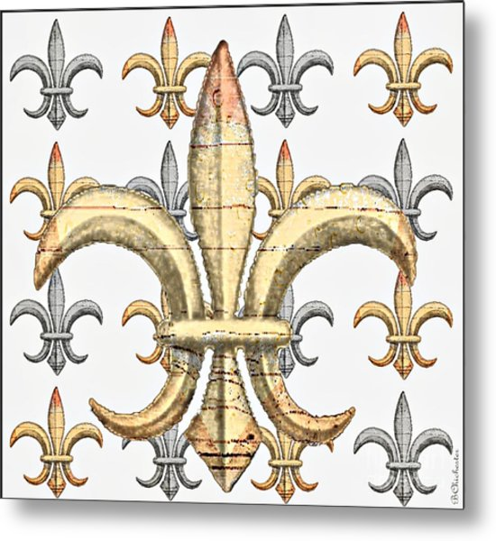 Fleur De Lys Silver And Gold Metal Print