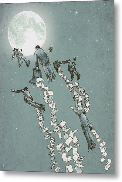 Flight Of The Salary Men Metal Print