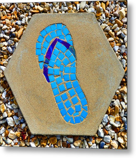 Square Flip Flop Stepping Stone Two Metal Print