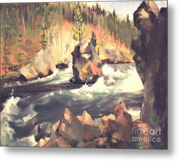 Floating Boulder Metal Print