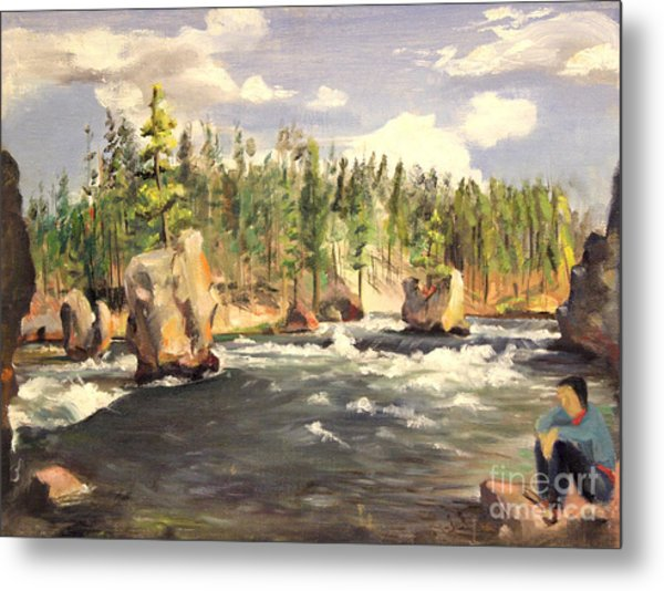 Floating Boulders On The Yellowstone River  1950s Metal Print
