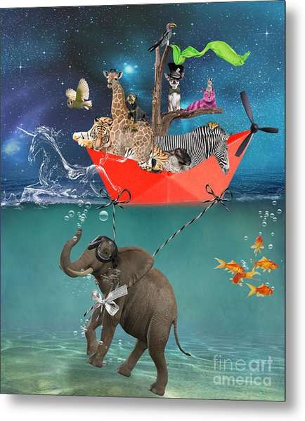 Floating Zoo Metal Print