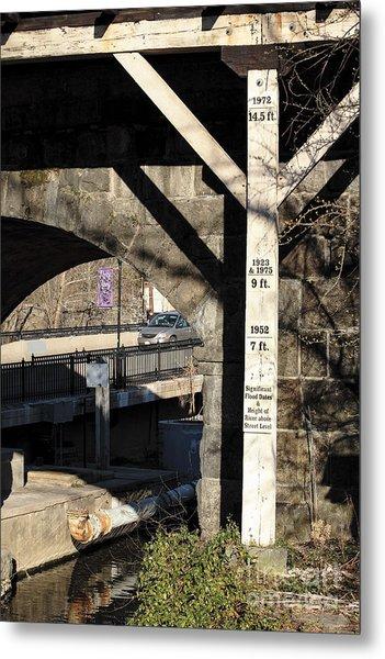 Flood Height Sign At Ellicott City Maryland Metal Print