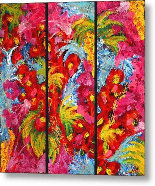 Floral Abstract Triptych On Black Background Metal Print