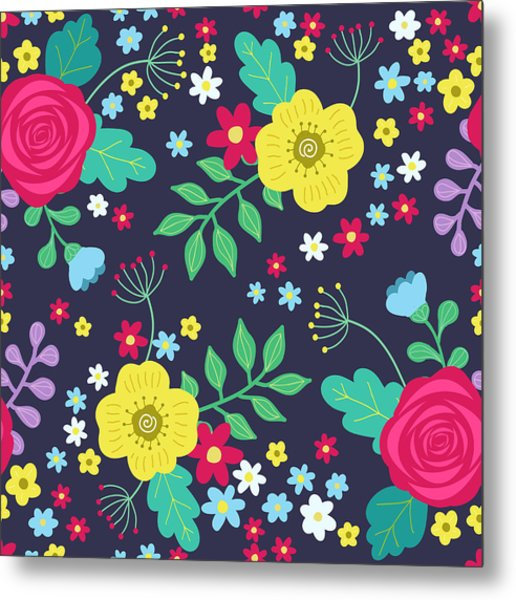 Floral Colorful Seamless Pattern With Metal Print