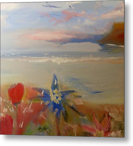 Floral Delight At Blue Bird Bay Metal Print