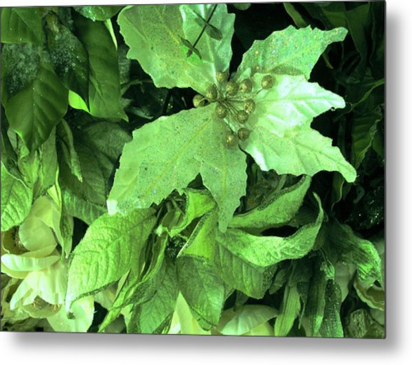 Floral In Green Metal Print