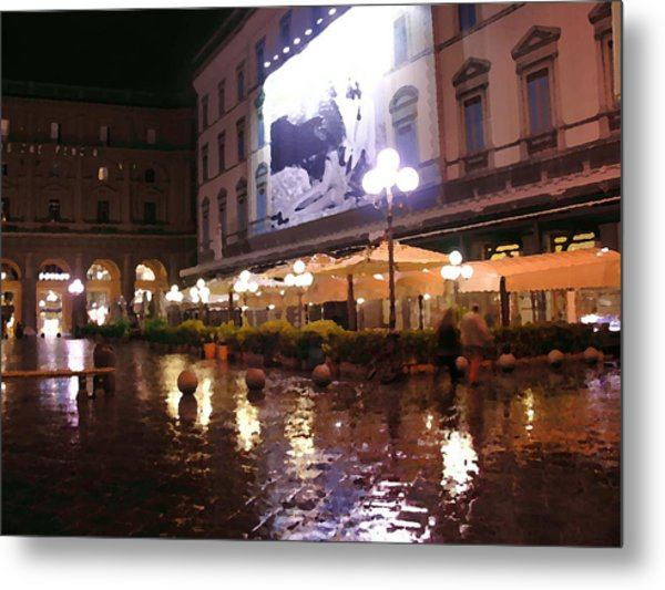 Florence Cafes Abstract Metal Print by Jacqueline M Lewis