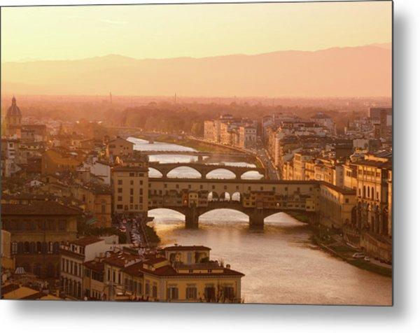 Florence City During Golden Sunset Metal Print by Dragos Cosmin Photos