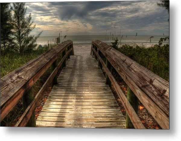 Florida Beach Entrance With A Beautiful Sky Metal Print