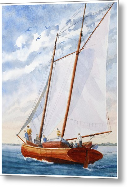 Florida Catboat At Sea Metal Print