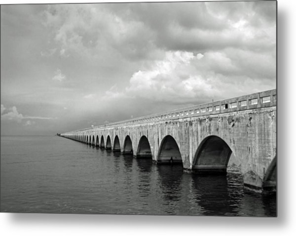 Florida Keys Seven Mile Bridge Black And White Metal Print
