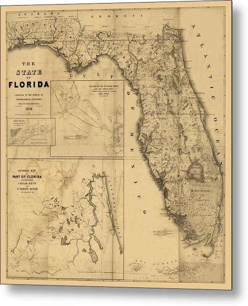 Florida Map Art - Vintage Antique Map Of Florida Metal Print