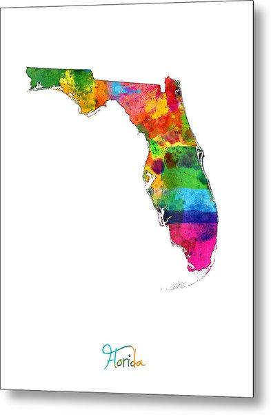 Florida Map Metal Print
